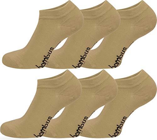 normani 6 Paar Bambus Sneaker Socken in verschiedenen Designs - weiches Material Farbe Beige Größe 43/46 -