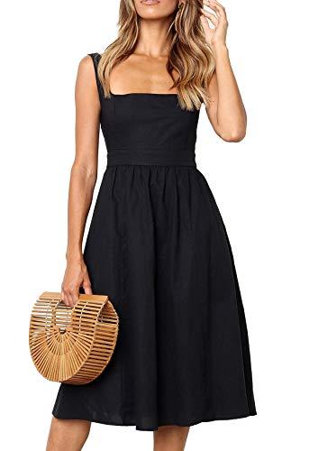 Damen Kleider Sommer A-Linie Kleid Casual Elegant Ärmellos Strand Vintage Midi Kleid (bk,s)