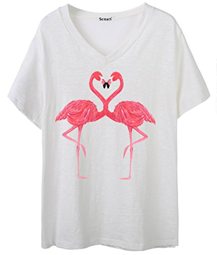 So'each Women's Animal Flamingo Graphic V-Neck Tee T-Shirt Ladies Casual Top (Womens Hot T-shirt Cap Sleeve)