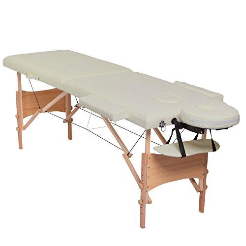 dibea MT00560, Mobile 2-Zonen Massagebank, Holzgestell (klappbar), höhenverstellbar, beige