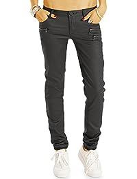 Bestyledberlin Damen Jeans, Straight Leg Wachs-Look Jeans, Gewachste Jeanshosen Regular Fit j08l