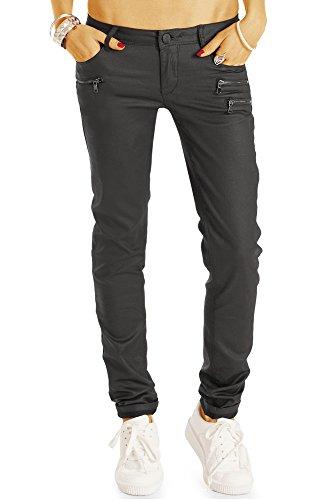 Bestyledberlin Damen Jeans, Straight Leg Wachs-Look Jeans, Gewachste Jeanshosen Regular Fit j08l, Grau, Gr. 36/S (Rise-pants Vintage-low Womens)