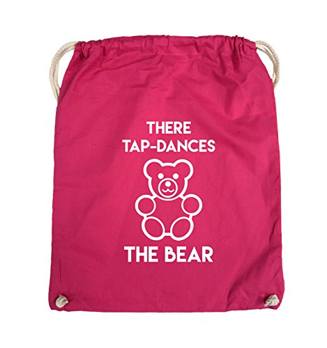 Comedy Bags - THERE TAP DANCES THE BEAR - Turnbeutel - 37x46cm - Farbe: Schwarz / Silber Pink / Weiss