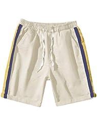 3507aa7d9d FRAUIT Pantalones Cortos Deportivos Casuales Pantalones Cortos de Verano de  Rayas para Hombre Pantalones de Algodón