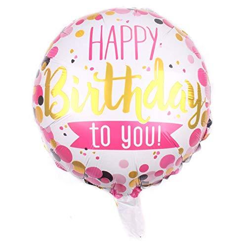 DIWULI, Geburtstags Luftballon Happy Birthday to You, Folienluftballon, rosa/weiß/gelber Folien-Ballon für Geburtstag, Kindergeburtstag, Party, Dekoration