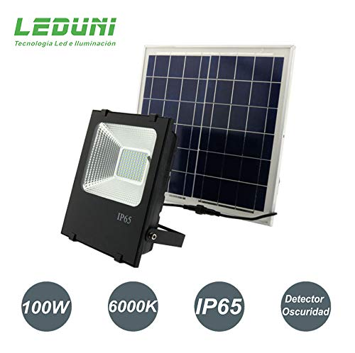 Foco LED Solar Exterior 100W Negro 6000LM IP66 Impermeable
