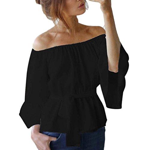 OverDose Damen Frauen Casual Loose Aus Schulter Fackel Ärmel Tops T-Shirt Bluse Hemd X-Schwarz