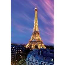 Póster de la torre Eiffel de forma automática al anochecer