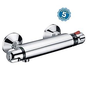 Grifo termostatico de ducha con flexo, alcachofa y soporte con 5 años de garantía