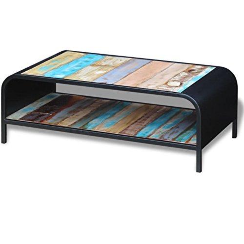 SENLUOWX Kaffee Tisch massiv wieder Holz Stahl Rahmen Beistelltisch Ende Tisch Couchtisch Wohnzimmer Tisch (Rechteck Teak-holz)
