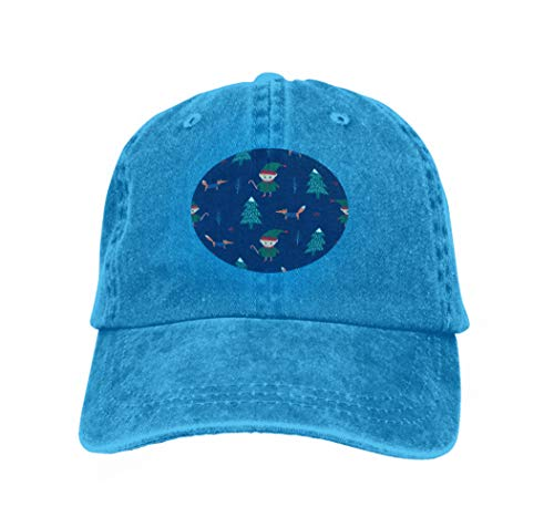 Adult Grid Baseball Caps Unisex Sunshade Hat Mesh Hat Snapback Cap Christmas Tree elf Candy Cane Fox Dark Blue Background Cute Blue
