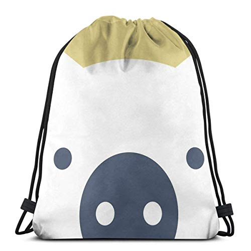 Cap pillow Peek a Boo Pig Navy and Gold Drawstring Backpack Bag Lightweight Gym Travel Yoga Casual Snackpack Shoulder Bag for Hiking Swimming Beach -