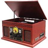 Nostalgie Kompaktanlage   Retro Radio Holz mit Lautsprecher   7in1 Musikanlage   Plattenspieler   Kassette   CD-Player   USB   Fernbedienung   SD-Card   Schallplattenspieler   Aufnahmefunktion (Holz)