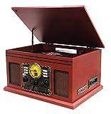 Nostalgie Kompaktanlage | Retro Radio Holz mit Lautsprecher | 7in1 Musikanlage | Plattenspieler | Kassette | CD-Player | USB | Fernbedienung | SD-Card | Schallplattenspieler | Aufnahmefunktion (Holz)