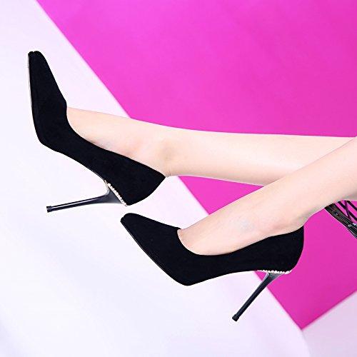 Hgtyu-punta Sexy Nappe Phréatique 10cm De Haut Avec Talon Chaussures Simples Peu Profondes Forage De L'eau Satin Et Mince 34 Noir Noir