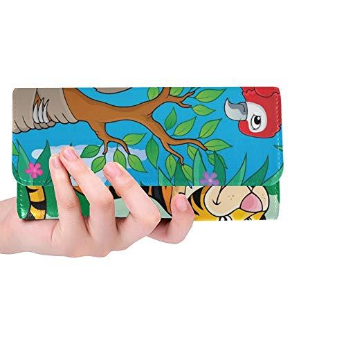 Einzigartige benutzerdefinierte Tiere Dschungel Thema Bild 2 Eps 10 Frauen Trifold Brieftasche Lange Geldbörse Kreditkarteninhaber Fall Handtasche