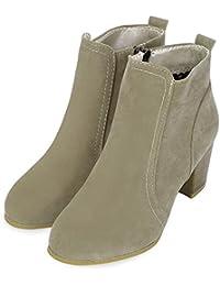 Hannea Stylish Side Zipper Scrub Martin Boots Pure Color Women High Heel Shoes