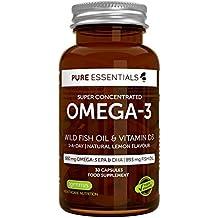 Aceite de Pescado Salvaje Omega-3 Super-Concentrado Pure Essentials y Vitamina D3 | Omega-3 EPA y DHA de 600 mg | Aceite de Pescado de 893 mg | 1 al día | Sabor a limón | 30 cápsulas