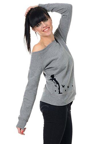 Punk Style Femme De Épaule Pull / Oversized sweater off shoulder manches longues avec punk fee de 3Elfen - Haut col bateau Pullover Gris-Noir