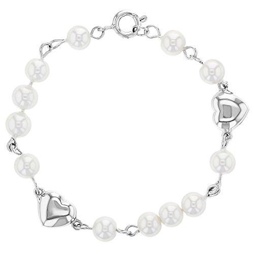 In Season Jewelry Baby Säugling Mädchen - Armband Herz 925 Sterling Silber Weiße Simulierte Perle 13cm