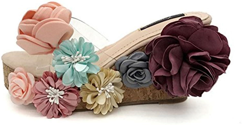 KUKI Sandalias de madera vintage con suela gruesa y floral de mujer, US6.5-7/EU37/UK4.5-5/CN37