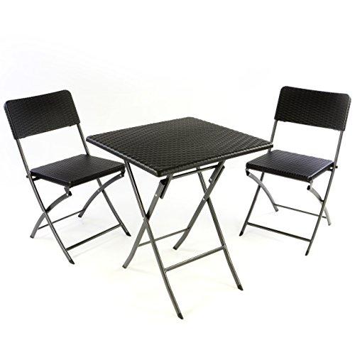 Nexos 3er Set Garnitur Tischset mit 2 Stühlen 1 Tisch Balkonset in Rattan-Optik Schwarz Bistroset...
