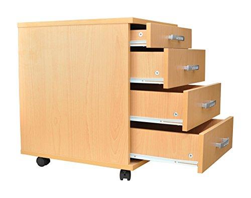 AISEN 'Ravenna- Grün' Rollcontainer, Schreibtischcontainer, Bürocontainer, Holzwerkstoff, weiß /...