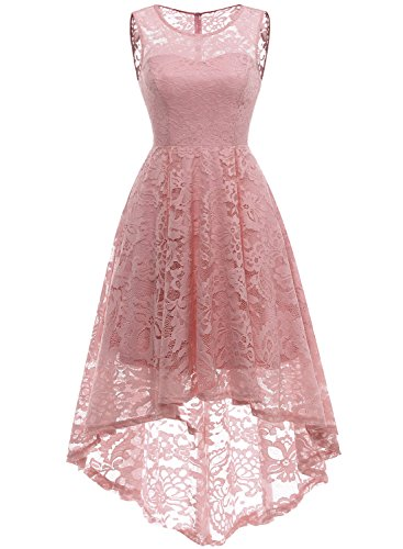 MuaDress MUA6006 Elegant Kleid aus Spitzen Damen Ärmellos Unregelmässig Cocktailkleider Party Ballkleid Blush M