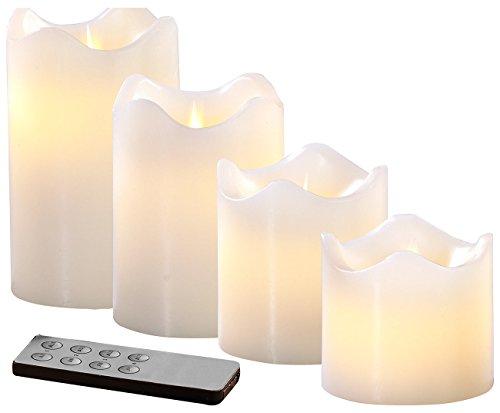 Britesta LED Wachskerze: 4 Echtwachskerzen mit beweglicher LED-Flamme, Abgestuft, weiß (LED Kerzen mit Fernbedienung)