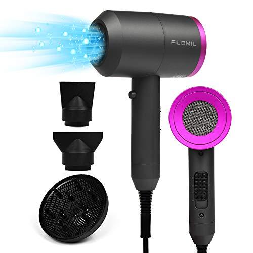 Youn-MXG Professional Ionen-Haartrockner 1800W, Handlicher Haartrockner mit leistungsstarkem Wechselstrommotor, 3 Geschwindigkeiten, kleiner Haartrockner mit 3 Stylingdüsen und Diffusor