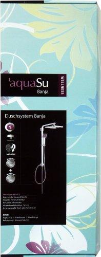 AquaSu – Wellness Duschsystem Banja, Duschgarnitur mit Handbrause und Kopfbrause, Regendusche, Chrom - 5