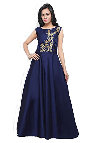 S R Fashion Women's Taffeta Silk Blouse Work Stitched Long Gown For...