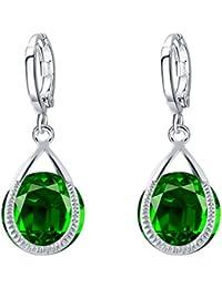 Shining Diva Fashion Jewellery Crystal Green Stylish Fancy Party Wear Studs Traditional Earrings For Women & Girls