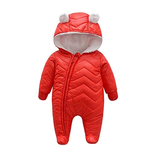 Livoral Baby Winterjacke Neugeborenes Baby Baby Boy Floral Rüschen Einteiliges Jumpsuit Jumpsuit Jumpsuit Set(Rot,0-3 Monate)