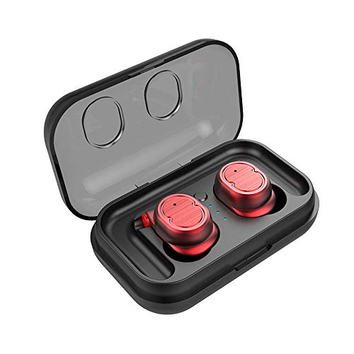 Bluetooth Kopfhörer, Bluetooth Kopfhörer in Ear Kabellos Sport Ohrhörer, Wireless Earbuds Deep Bass HD-Stereo,Noise Cancelling Kopfhörer mit Mikrofon (rot)