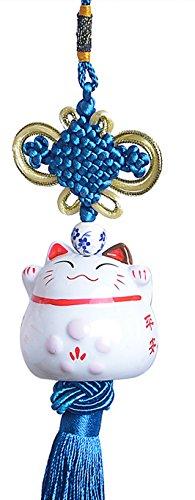 Goodwei Maneki Neko - feng shui pendiente afortunado japonés del gato de calicó de China (azul)