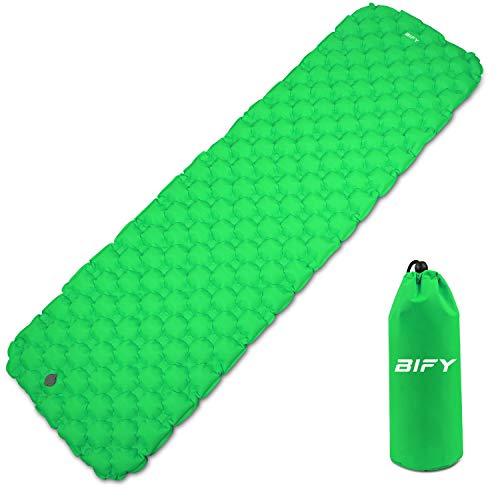 BIFY Isomatte Camping Schlafmatte Ultraleicht Kleines Packmaß. Aufblasbare Luftmatratze für Outdoor Camping, Reise,Trekking und Backpacking (Grün)