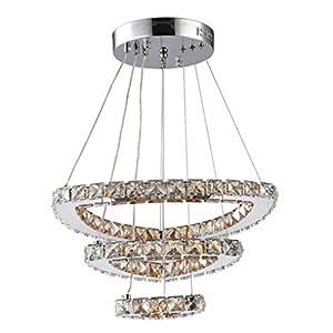 FDA3H / LED 84W Pendelleuchte Moderner Luxus 3 Ring K9 Kristall Design Edelstahl Metall Hängen Licht Persönlichkeit Kreative Elegante Romantische Schlafzimmer Hängelampe Dimmable 3000K-6500K IP20