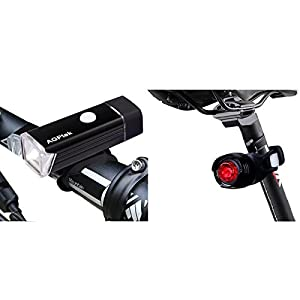 Conjunto de faro Delantero y Trasero, -AGPTEK LC01 Frontal Luz Recargable y Luz Trasera a pila combinaciones impermeables LED Bicicleta Luces Set, Color Negro.