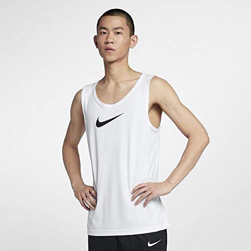 Nike Herren M NK Dry TOP SL Crossover BB Tank, White/Black, L