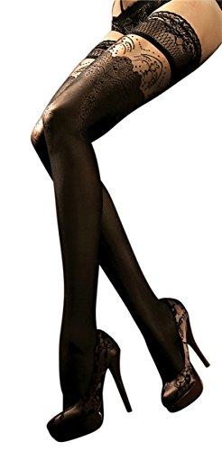 Unbekannt Ballerina Halterlose Damen-Strümpfe, schwarz, Stockings, Spitze, Strapsoptik, Schwarz, Large / X-Large