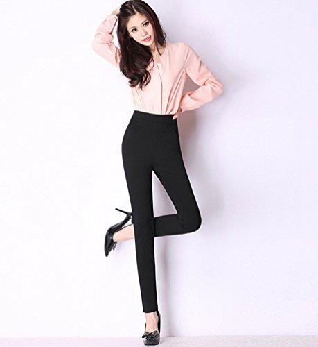 YiLianDa Donna Pantaloni Lunghi Skinny Eleganti Moda Tasche Casual Ufficio Nero