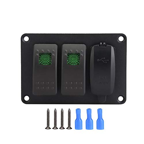 Keenso 2 Gang Wippschalter Panel mit 45 Muster Aufkleber wasserdichtes Auto Marine Wippschalter Panel LED 12/24 V Dual USB Ladegerät(Grün) -