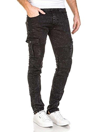 BLZ jeans - Jeans cargo homme noir délavé nervuré Noir