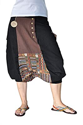 virblatt kurze Haremshose Muster Einheitsgröße S - XL Herren Aladinhose aus Baumwolle mit 2 Taschen alternative Kleidung- Sorgenfrei