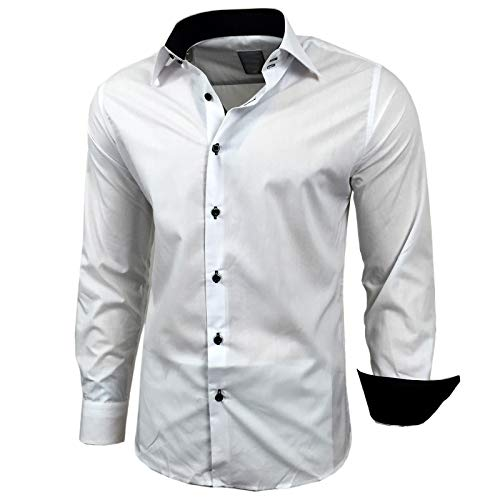 Kontrast Business Anzug Freizeit Polo Slim Fit Figurbetont Hemd Langarmhemd R-44, Farbe:Weiss/Schwarz;Größe:L