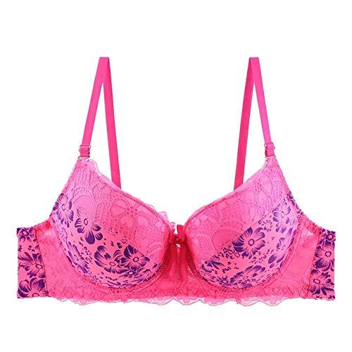 WXQDD Underwear Versuchung Dessous Women Print Color Matching Bügel-Bh Mit Vollständiger Abdeckung, Form-Bh, Sexy Lace Floral Dessous, Everday-Bh, Pink, 105C - Print-bügel-korsett