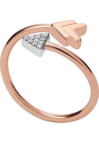 Fossil JFS00429998508 Damen Ring Pfeil Sterling-Silber 925 Bicolor Rose Weiß Zirkonia 17,8 mm Größe 56