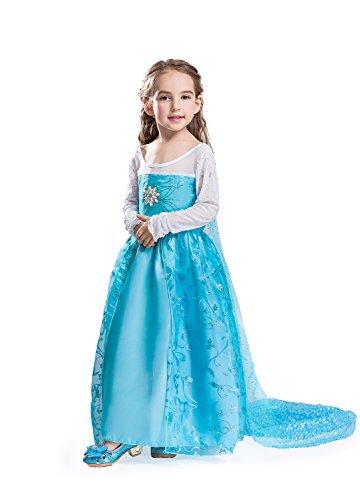 ELSA & ANNA® Mädchen Prinzessin Kleid Verrücktes Kleid Partei Kostüm Outfit DE-DRESS302-SEP (3-4 years, (Für Kostüme Kinder Elsa)