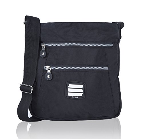 SUVELLÉ Suvelle Lightweight Go-Anywhere Travel Everyday Crossbody Bag Multi Pocket Shoulder Handbag 20103 (Satchel Zip Side)